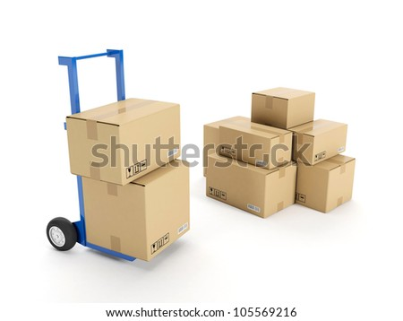3d illustration: Delivery of possession of the goods. Trolley with a group of cardboard boxes on a white background