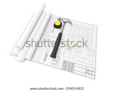 3d illustration: Design and development of furniture, drawings, hammer, ruler and tools on a white background