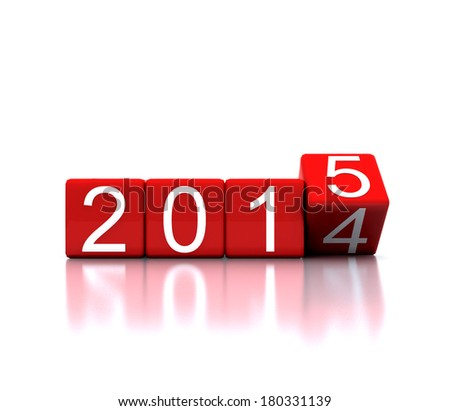 3D illustration dice with new year 2015