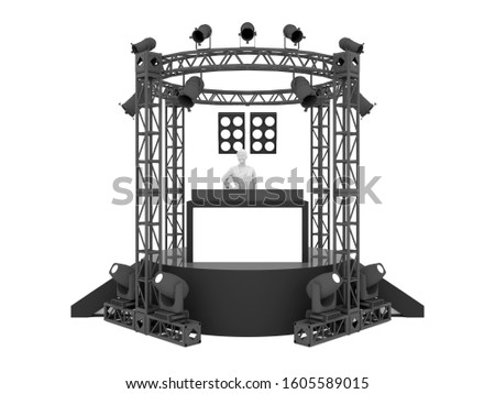 3d illustration disc Jockey stage rigging truss system with spotlight and table blank space logo company for event party. High resolution image white background isolated.