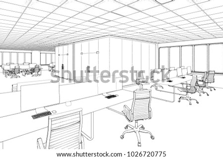 3d illustration. Drawing office