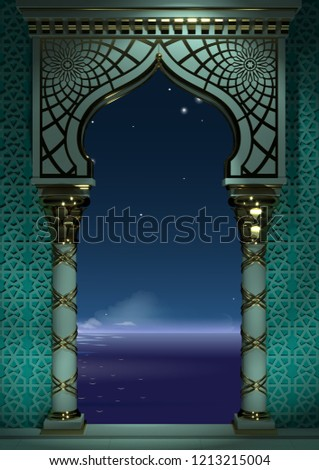 3d illustration. Eastern arch of the mosaic at night . Carved architecture and classic columns. Indian style. Decorative architectural frame . Сток-фото ©