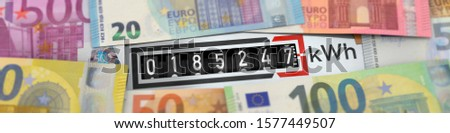 3D illustration, Electricity costs - electricity meter with euro banknotes