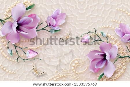 3d illustration, embossed beige background, light lilac large magnolia flowers on a green branch