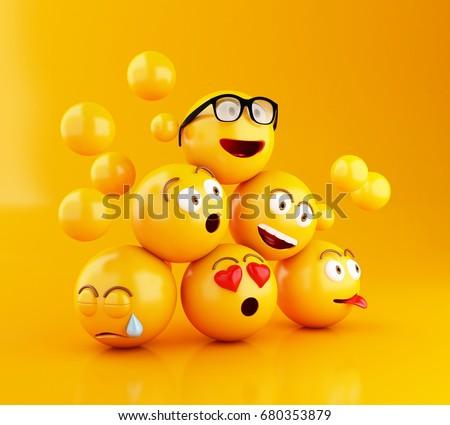 3d illustration. emojis icons...
