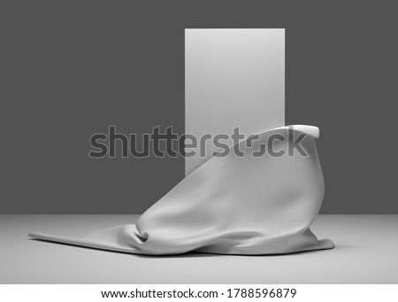 3d illustration. Empty presentation banner with place for text Grey color. Fabric, silk opens part of the white panel. Render. Foto stock ©