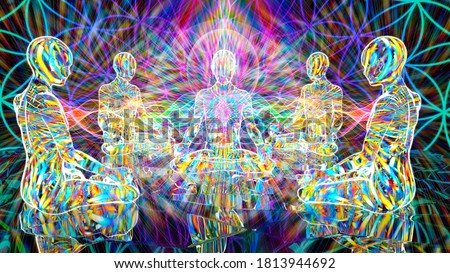 3D illustration. energy ritual of a meditative group of people. Stock fotó ©