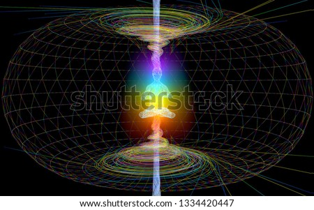 3D illustration. Energy within a person. multi-colored chakra. Foto stock ©