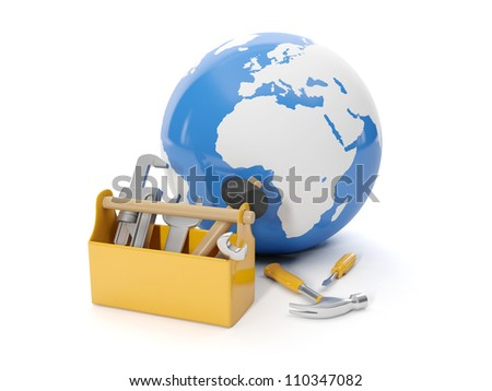 3d illustration: Environmental protection. Model of the earth and a tool box