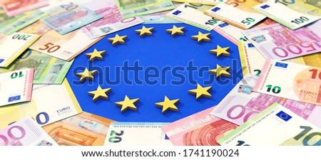 3D illustration, European Union and Money