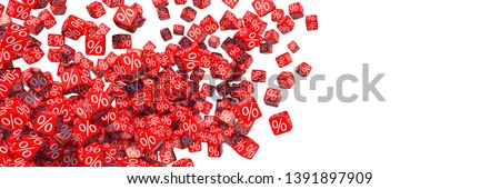 3D illustration, Exploding discount cubes with percent symbols Stockfoto ©