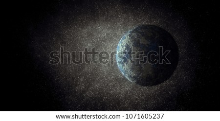3d illustration. Fantastic planet earth type. Exoplanet in the starry sky. Space landscape. Raster image.