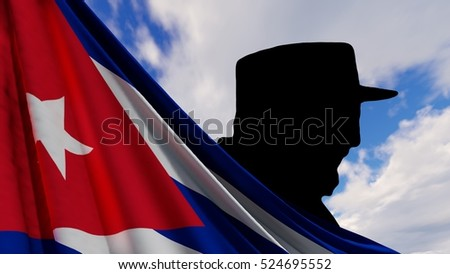 Shutterstock 3D illustration - Fidel Castro and cuban flag