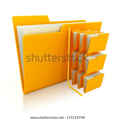 3d illustration file folder over white background