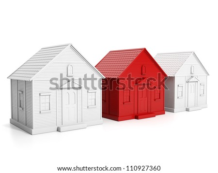 3d Illustration: Finding the right home, a group of white houses and one red