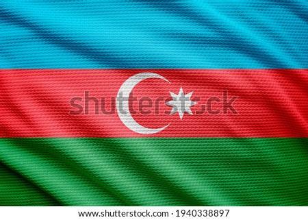 3d illustration flag of Azerbaijan. close up waving flag of Azerbaijan. flag symbols of Azerbaijan.