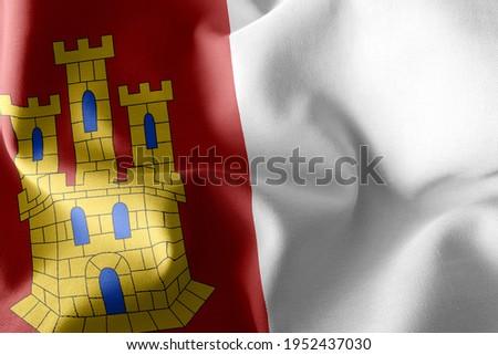 3D illustration flag of Castilla–La Mancha is a region of Spain. Waving on the wind flag textile background Foto stock ©