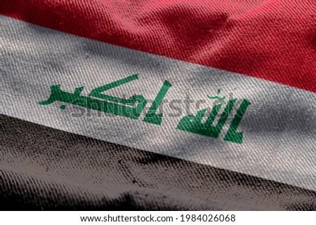 3d illustration flag of Iraq. close up waving flag of Iraq.