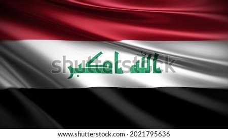 3d illustration flag of Iraq. close up waving flag of Iraq. flag symbol of Iraq.