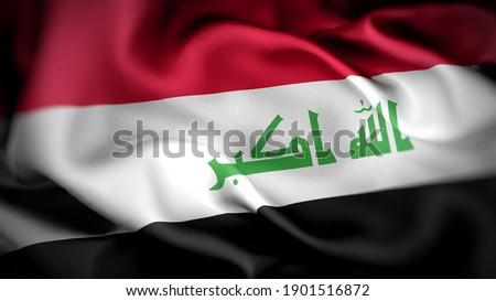 3d illustration flag of Iraq. close up waving flag of Iraq. flag symbols of Iraq.