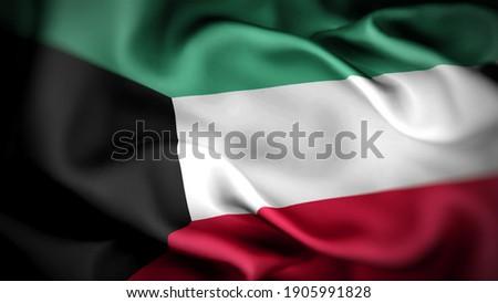 3d illustration flag of Kuwait. close up waving flag of Kuwait. flag symbols of Kuwait.