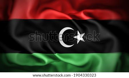 3d illustration flag of Libya. close up waving flag of Libya. flag symbols of Libya. Stockfoto ©