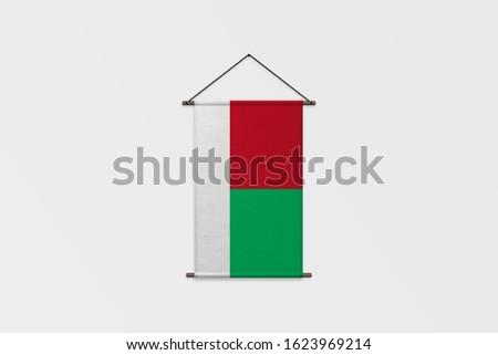 3d illustration Flag of Madagascar on Pennant.Madagascar Flag for advertising, award, achievement, festival, election.