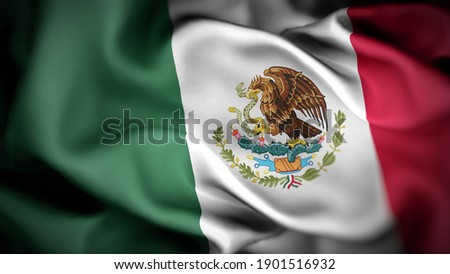 3d illustration flag of Mexico. close up waving flag of Mexico. flag symbols of Mexico.