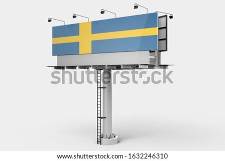3d illustration - Flag of Sweden on Billboard. Sweden Flag for advertising, celebration, achievement, festival, election.