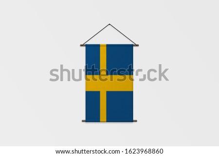 3d illustration Flag of Sweden on Pennant.Sweden Flag for advertising, award, achievement, festival, election.