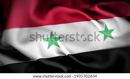 3d illustration flag of Syria. close up waving flag of Syria. flag symbols of Syria. Stockfoto ©