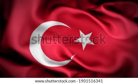 3d illustration flag of Turkey. close up waving flag of Turkey. flag symbols of Turkey.