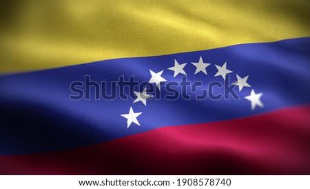 3d illustration flag of Venezuela. close up waving flag of Venezuela. flag symbols of Venezuela. Stockfoto ©
