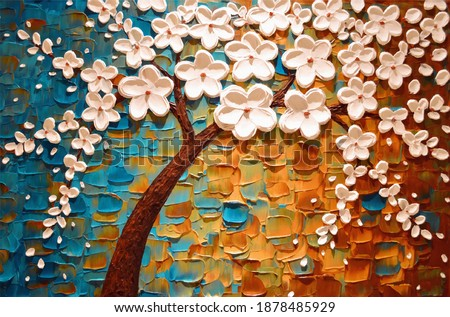 3D illustration , floral tree painting, canvas painting background with small and large painting flowers