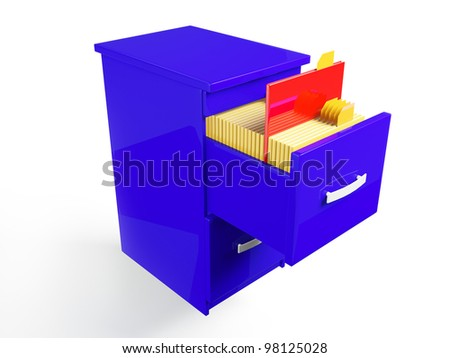 3d illustration: Folder icon with the documents in the closet