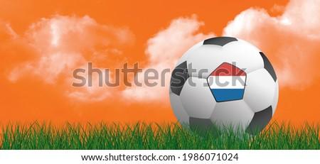 3D-illustration. Football with flag of the Netherlands. Soccer ball on green football grass field. Orange sky background banner. wk, ek sport 2021. Holland or Dutch orange supporters. Stok fotoğraf ©
