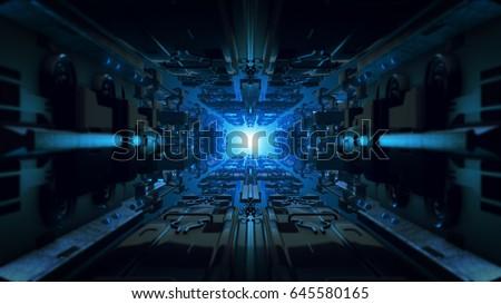 3d illustration futuristic design space ship interior infinite corridor.
