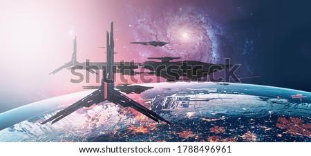 3D illustration. Futuristic science fiction scenery. Spacecraft concept art. Space art. Сток-фото ©