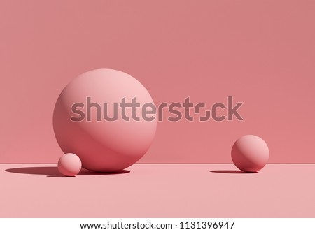 3D illustration geometric balls. Abstract rose background with spheres. Mockup.