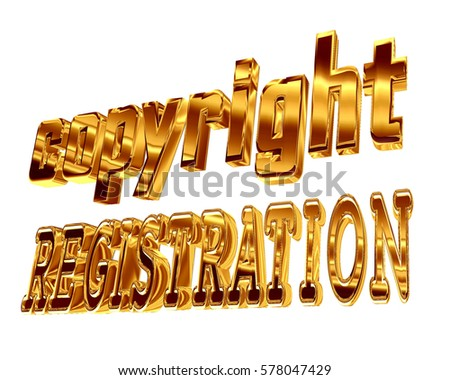 3d illustration. Gold text copyright registration on a white background