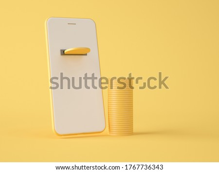 3D Illustration. Golden coin on smartphone screen and with a stack of coins on the side. Earn money. Mobile payment and financial investment concept.