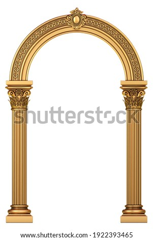 3d illustration. Golden luxury marble classic arch with columns. The portal in Baroque style. The entrance to the fairy Palace