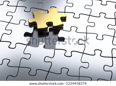 3D illustration golden puzzle piece