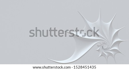3D illustration. Golden ratio. Abstract white spiral background. Nautilus shell, Fibonacci symmetry, spiral structure growth.