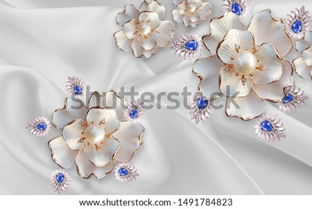 3d illustration, gray fabric background, large white abstract flowers with pearls and crystals
