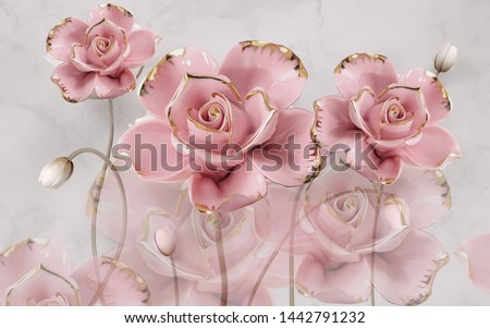 3d illustration, gray marble background, large pink gold-plated roses