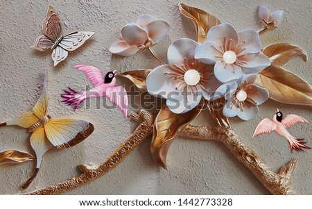 3d illustration, gray textural background, large white flowers on thick gilded branches, two large butterflies and pink birds