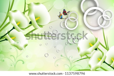 3D illustration, green background, rings, flowers calla