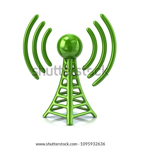 3d illustration green of wireless tower on white background