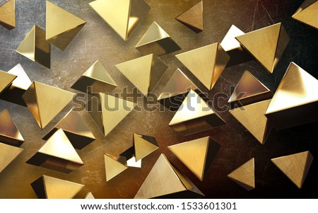 3d illustration, grunge background, many soaring golden triangular pyramids